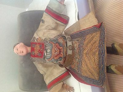 """Antique papier mache Chinese opera doll ornate jeweled embroidered outfit 11"""" H"""