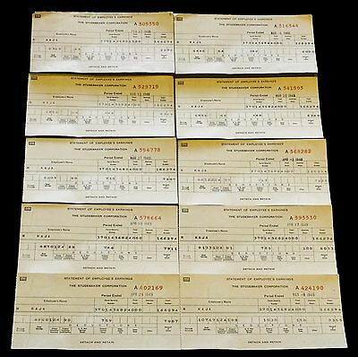 10 Vintage STUDEBAKER CORP Pay Check Stubs 1949 UNION DUES