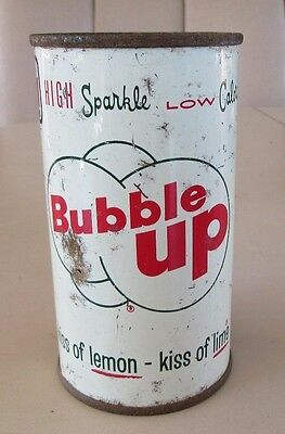 Pre Zip 1957 Straight Steel Flat Top Bubble Up Lemon Lime Soda Can Top Open