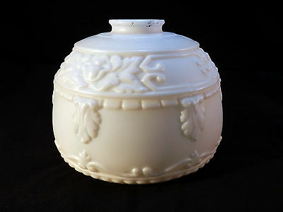 Vintage Antique Art Deco White Milk Glass Heavy Embossed Torchiere Shade