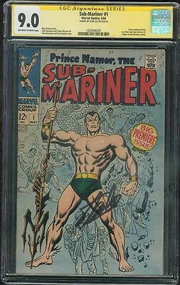 Sub Mariner 1 CGC SS 9.0 Stan Lee signed 1968 Origin John Buscema Cover art OW/W