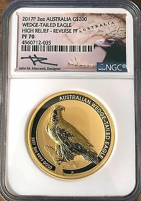 2017 P 2 Oz. Gold Wedge-Tailed Eagle Reverse NGC PF 70 Hand Sign John Mercanti