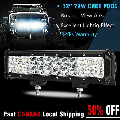 12inch 72w CREE ATV Led Work Light Bar Combo Driving Off road Truck SUV UTE Wire