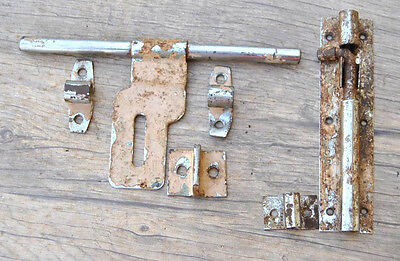 2pc SET VINTAGE ORIG. STEEL RUSTIC DOOR WINDOW LATCH SLIDE LOCK FARM BARN DECOR