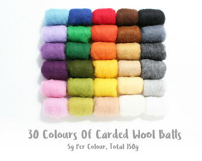 30 Colours Pack Of Carded Wool Batts For Needle Felting Total 150g (5g x 30)