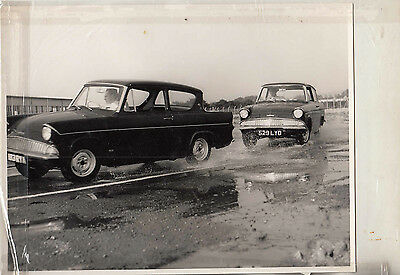 Ford Anglia 105E, On Avon Skid Pan, Period Photograph.