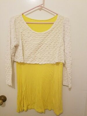 Lottemama nursing dress long sleeve yellow dress with white top over