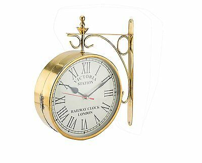 Brass Victoria Station Double Sided Railway Clock Functional Clock Home Decor