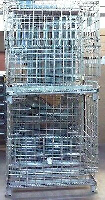 9 Industrial Wire Collapsible Stackable Folding Storage Container Baskets