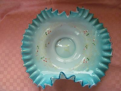Antique Hand Blown Opalescent Glass Brides Basket - Ruffed With Stand - Vgc