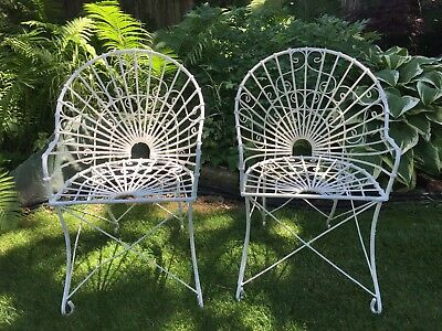 Pair Of Antique Vintage Iron Wire Garden Patio Arm Chairs