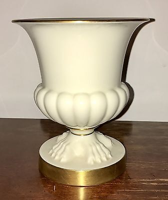 Vintage LENOX Numbered Claw Foot Pedestal Ivory/Cream Urn Vase With Gold Accents