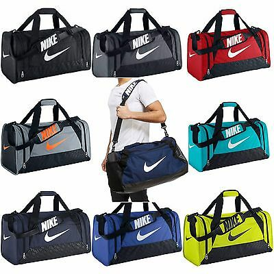 6a4a790c9229 Nike Brasilia 6 XS Small Medium Large Duffel Gym Bag Navy Black Grey Gray  Duffle