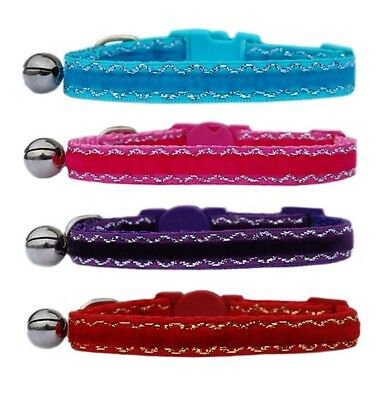 Red purple pink turquoise Velvet safety kitten cat collar bell