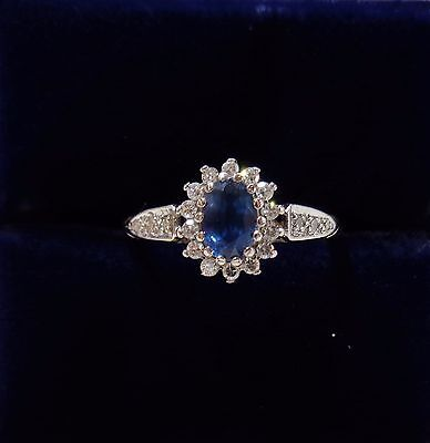 Small Size L 1/2 - Sapphire and Diamond Cluster Ring in 9ct Yellow Gold