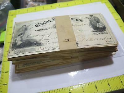 Clinton National Bank Nj 1867 Post Civil War Obsolete Bank Check Hoard Liberty