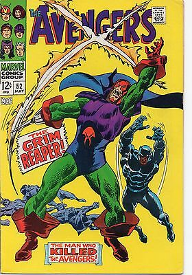 AVENGERS 52 - May 1968. Very Fine- (7.5) 1st Grim Reaper.