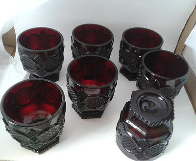 Avon Cape Cod 1876 Ruby Red Glass Footed Ice Cream Glass Set Of 7