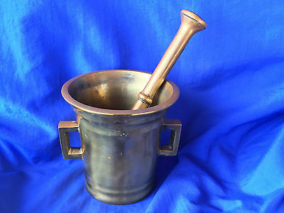 VINTAGE Brass Mortar and Pestle DENMARK NICE PATINAS 3.75 Inch Heavy Flared Lip