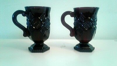 2 AVON Glass Footed Mugs With Handle 1876 Cape Cod Ruby Red Vintage