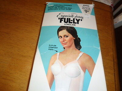 Vintage NOS Exquisite Form Fully 7532  Longline  Bra White 46C  with Box GREAT!!