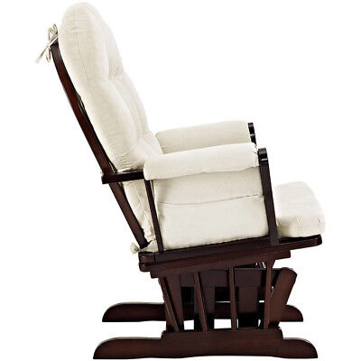 Angel Line Windsor Glider and Ottoman Espresso Finish and Beige Cushions, Cherry