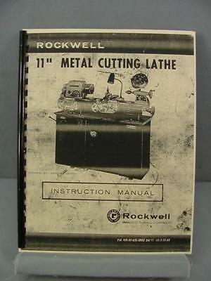 """Rockwell 11"""" Metal Cutting Lathe Instruction Manual & Parts List"""