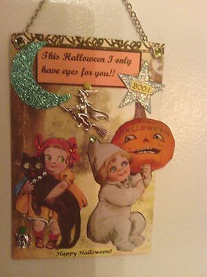 Handmade mixed media Halloween collage card & envelope