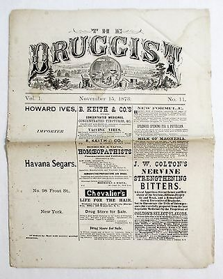 Antique 1873 THE DRUGGIST Apothecary Pharmacy Medical Medicine Newspaper