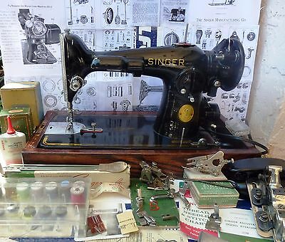 Singer 201-2 Direct drive antique sewing machine,carry case,ALL attachments,1946
