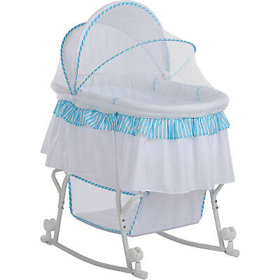 Dream On Me, Lacy, Portable 2-in-1 Bassinet And Cradle in Blue And White