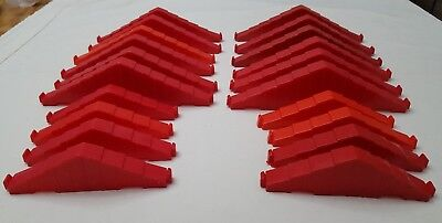 "lot of 20 Lincoln Logs Building Plastic Red Roof Truss Supports Pieces 8.5"" & 6"""
