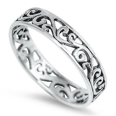 FILIGREE BAND ~ Womens Genuine STERLING SILVER Ring ~ Size 5 6 7 8 9 10 11 12 13