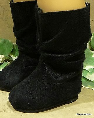 """BLACK Suede Slouchy DOLL BOOTS SHOES fits 18"""" AMERICAN GIRL Doll Clothes"""