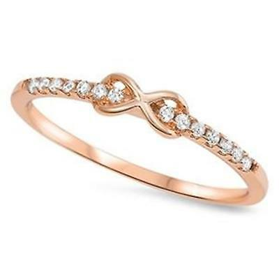 INFINITY RING ~ GENUINE STERLING SILVER ~ ROSE GOLD ~ Size 5 6 7 8 9 10 11 12