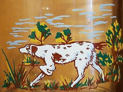 """Hunting Dog 5"""" Glass Beer Stein With Blue Tint & Silver Design Barware Pointer"""