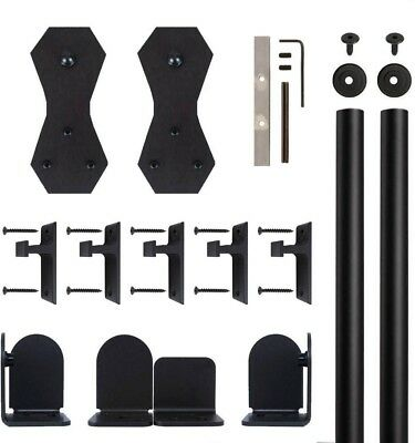 Quiet Glide Castle 2 Black Rolling Door Hardware Kit 3/4 in. to 1-1/2 in. Door