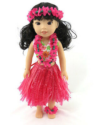 "Hot Pink Hawaiian Luau Outfit Fits Wellie Wishers 14.5"" American Girl Clothes"