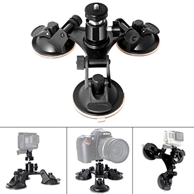 Heavy Duty Car Windshield Triple Suction Cup Mount for DSLR SLR camera and video