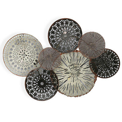 Abstract Antique Discs Metal Wall Art 68cm | Hanging Sculpture Garden