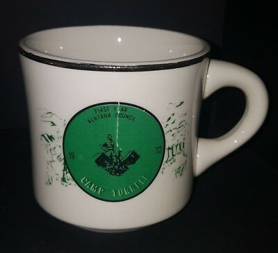 Vtg BSA Camp Turrell 1972 Alhtaha Council First Year Coffee Cup Mug SCRATCHED
