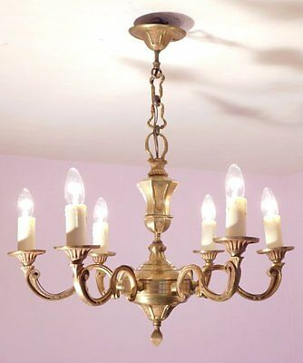 Fabulous Vintage French 6 Light Empire Chandelier in Bronze.