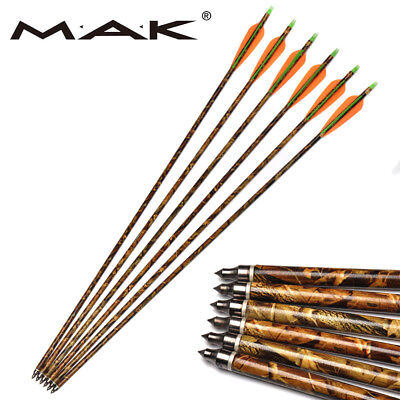 """6Pcs 30"""" Aluminum Arrows Archery for Compound Bow Hunting Target Practice 8.8mm"""