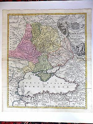 1720 Homann Antique Map Russiae Magnae Russia Moscow Crimea Constantinople Volga