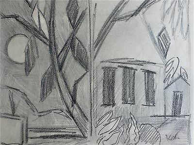 Keith Vaughan (1912-1977), original drawing, 'Buildings and foliage'