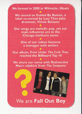 FALL OUT BOY Rock Group Band 2006 QUIZ GAME TRIVIA PHOTO CARD