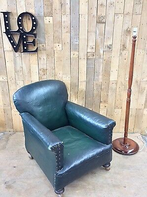 Rare, Antique, Rustic, Vintage, French? Leather, Club Chair, Industrial
