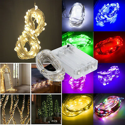 1M 2M 5M LED String Copper Wire Fairy Lights Battery Powered Waterproof 20 50LED
