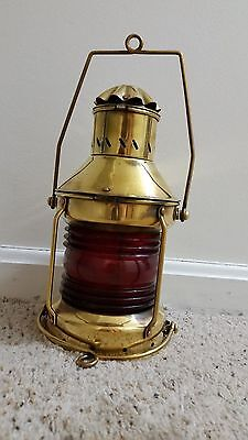 Vintage Holland Ship's  NAUTICAL SOLID BRASS Port  Red Oil Lantern