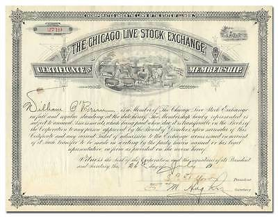Chicago Live Stock Exchange Membership Certificate